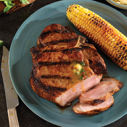Grilled Porterhouse (Bone-in Loin) Pork Chops with Chipotle Cilantro Butter
