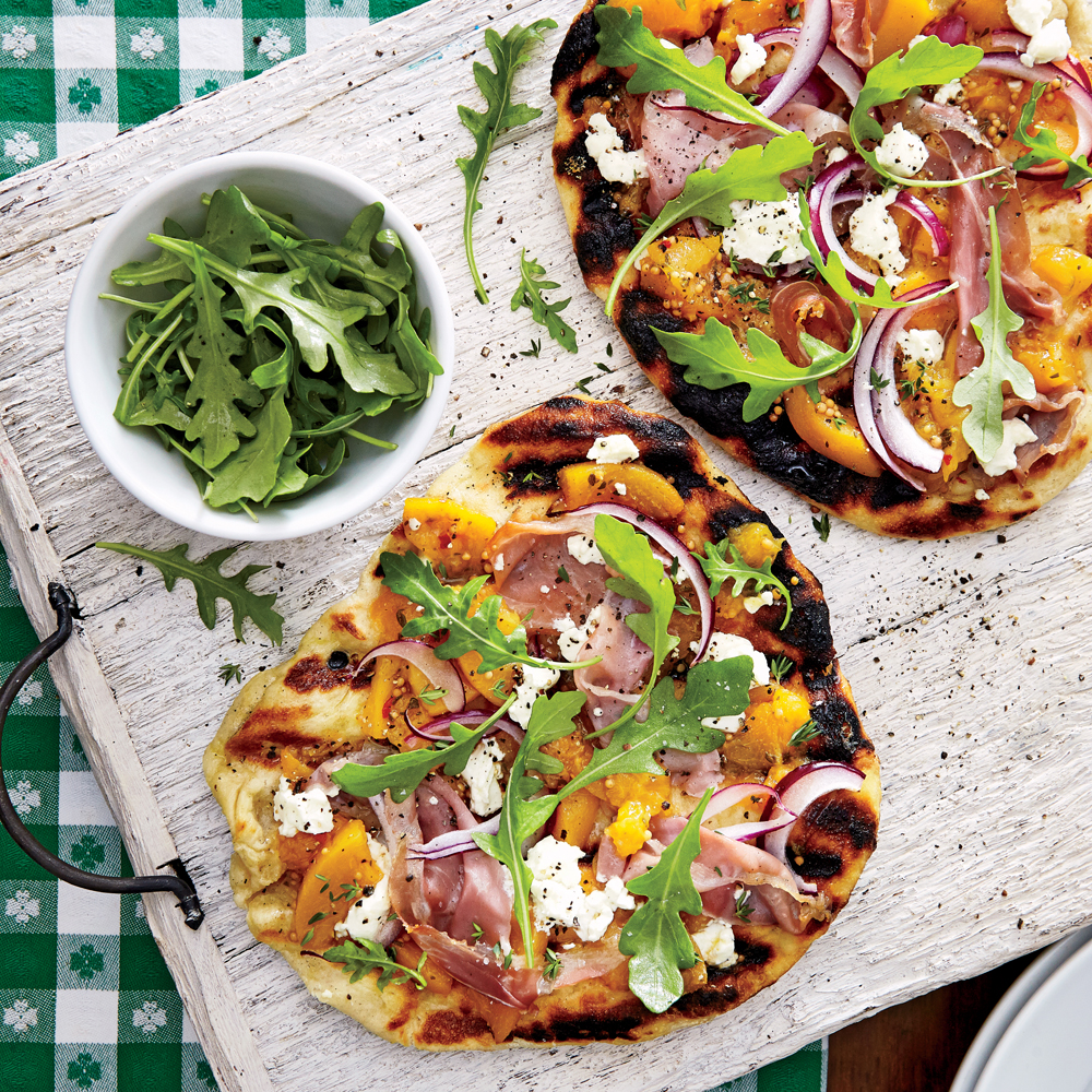 Grilled Peach Chutney Pizza with Prosciutto and Goat Cheese