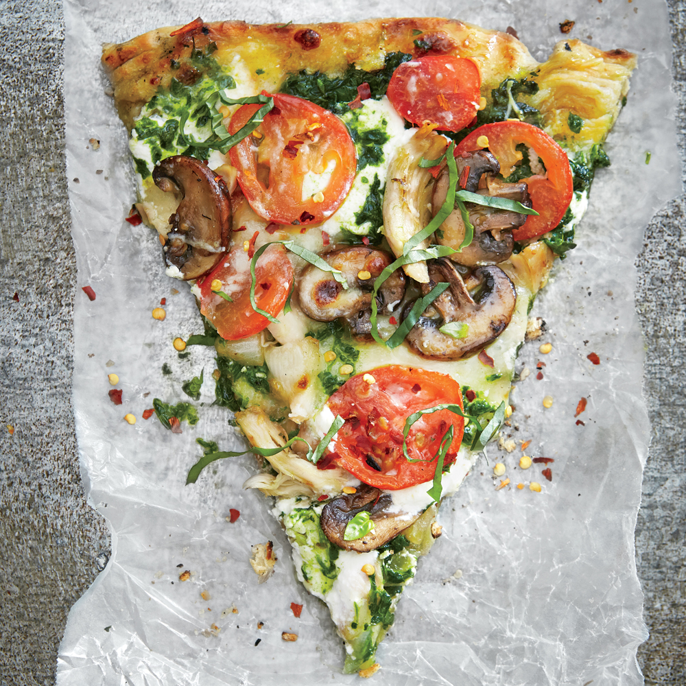 Grilled Pesto Pizza with Chicken, Mozzarella, and Ricotta