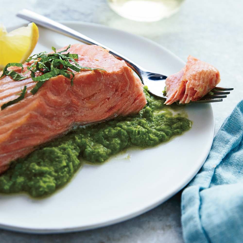 Roasted Salmon with Pea Puree