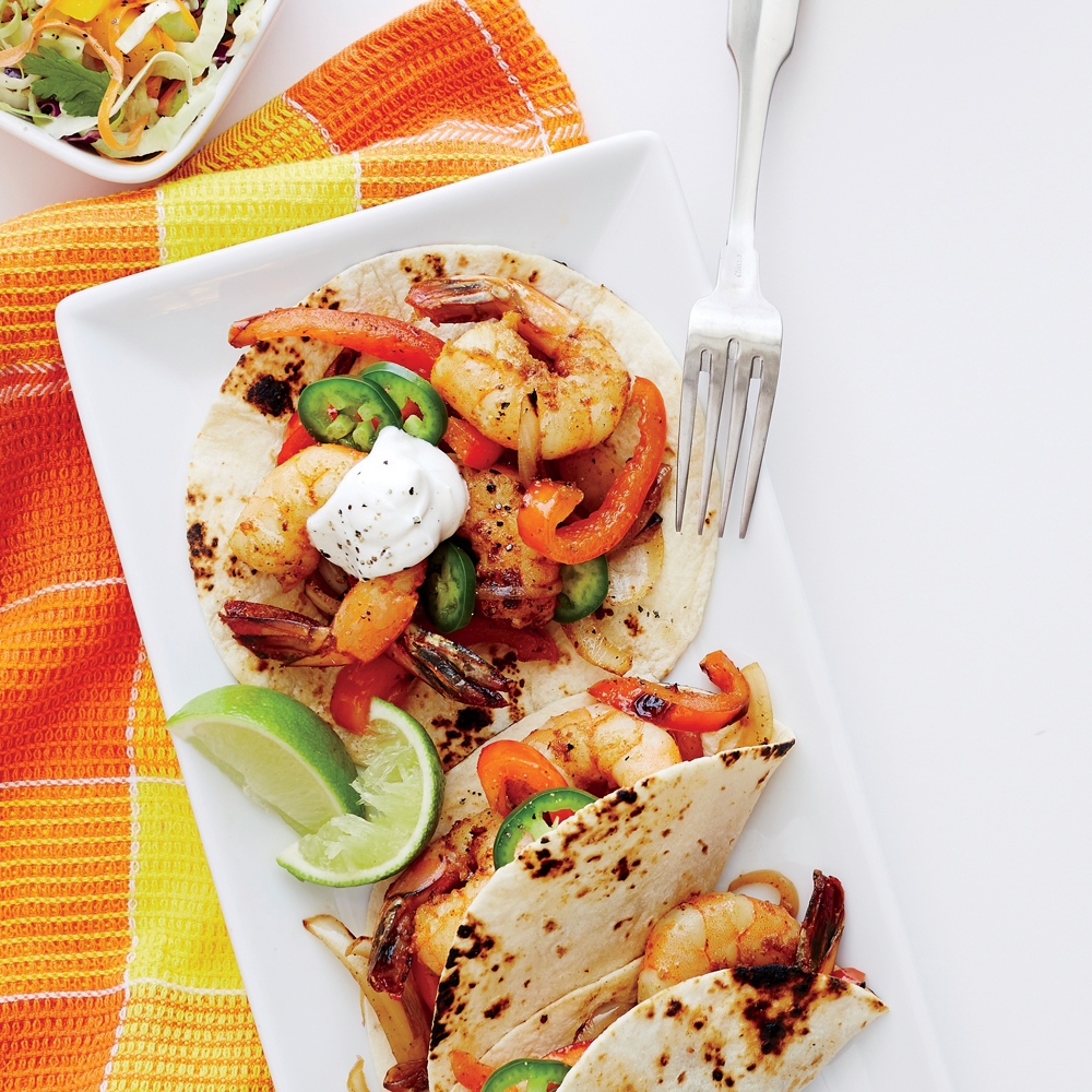 Shrimp Fajitas with Mango-Lime Slaw Recipe | MyRecipes