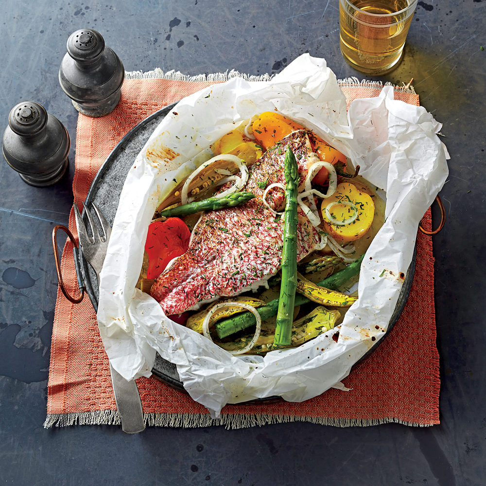 Snapper Baked In Parchment With Spring Vegetables Recipe