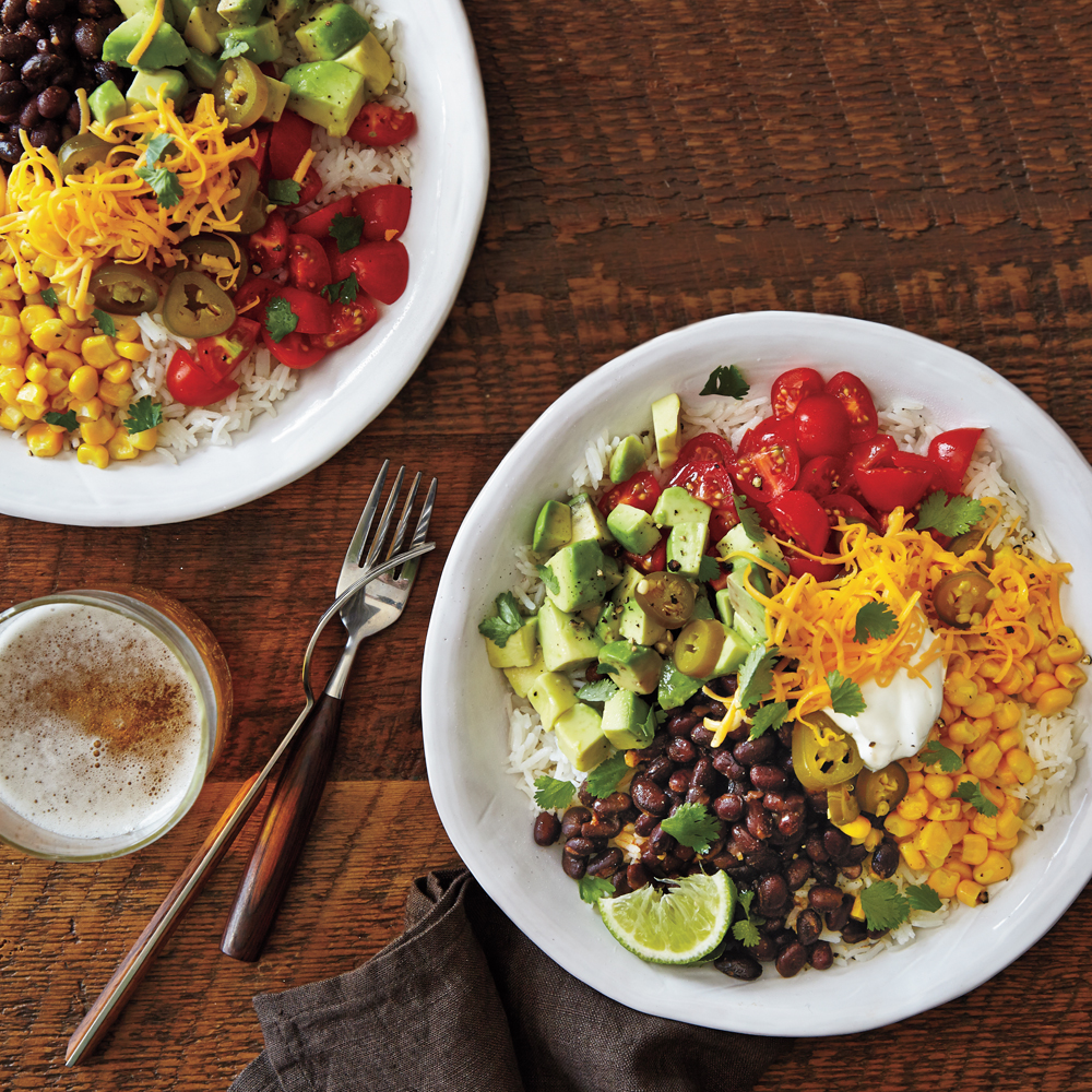 Vegetarian Burrito Bowls                            RecipeThese easy, delicious veggie bowls can be on your table in less time than it takes to drive to the local taco joint.