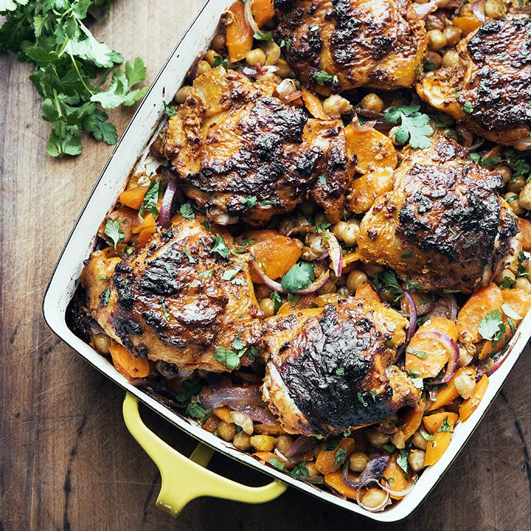 Harissa-Roasted Chicken with Chickpeas