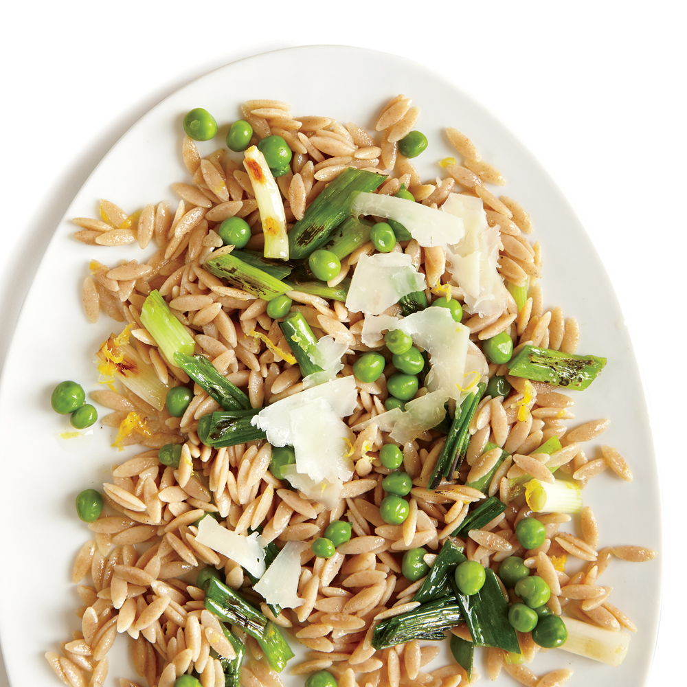 Grilled Green Onions with Orzo and Sweet Peas