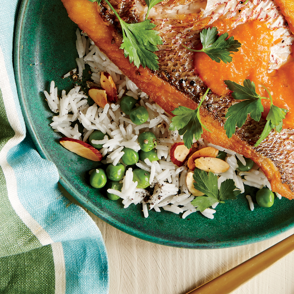 Rice with Almonds and Peas