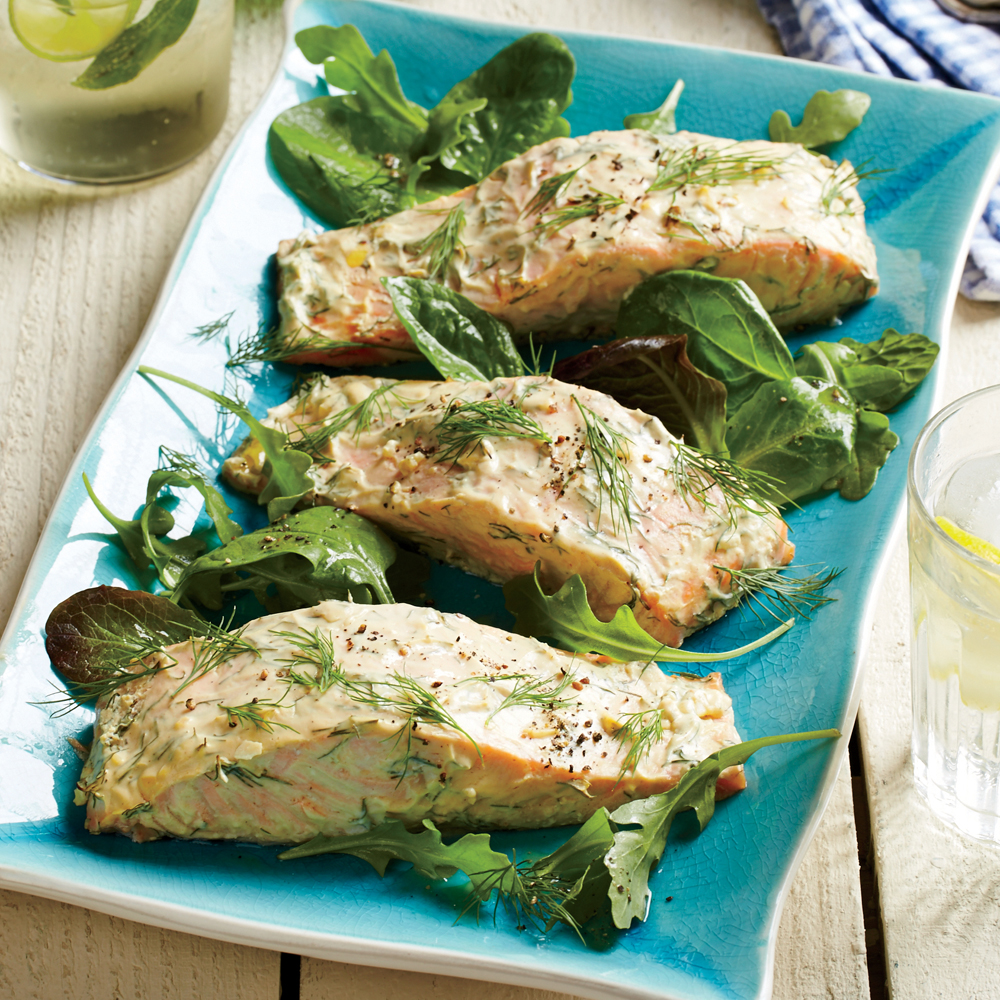 Roasted salmon with dijon dill sauce recipe myrecipes for Cooking with fish sauce