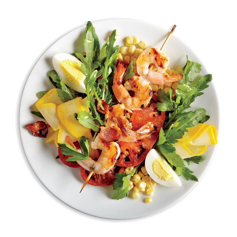 Shrimp, Squash, and Bacon Salad