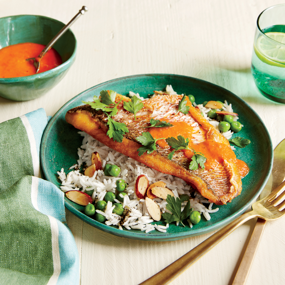 Spanish-Style Snapper with Roasted Red Pepper Sauce
