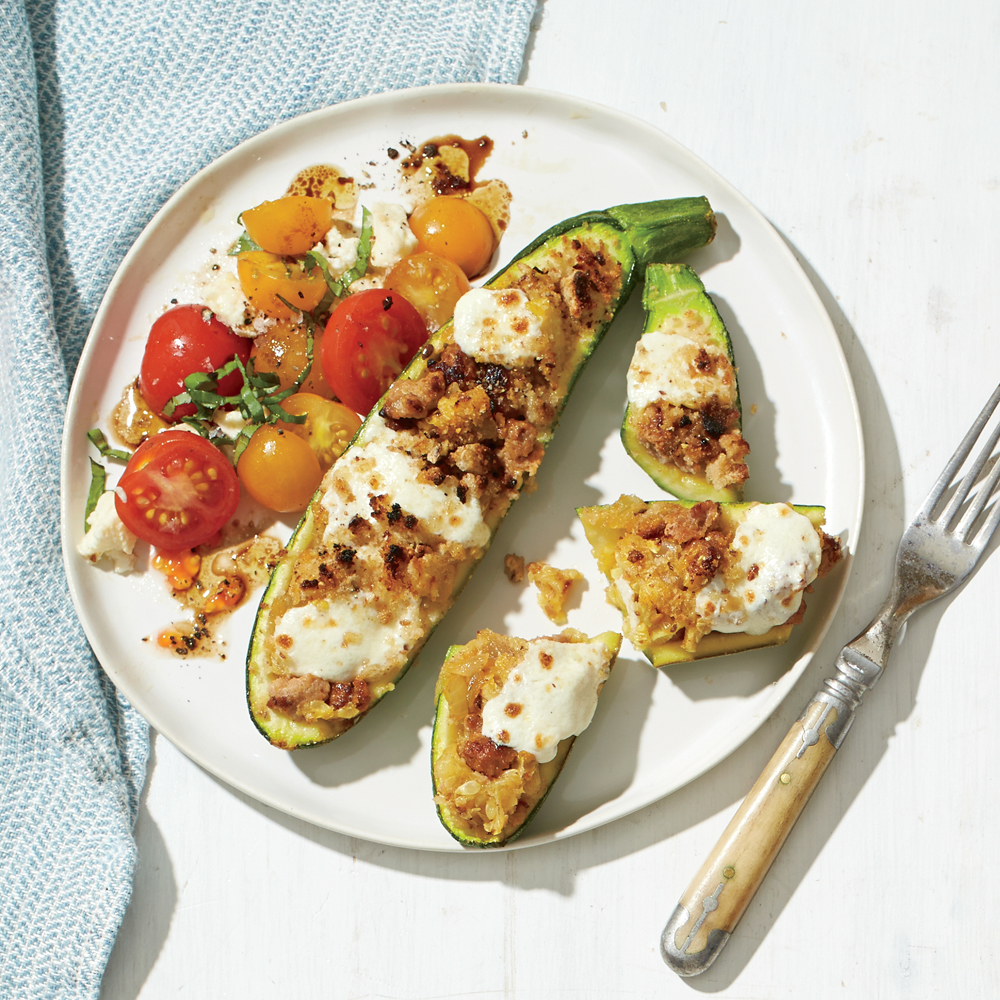 Stuffed Zucchini Boats with Tomato Salad