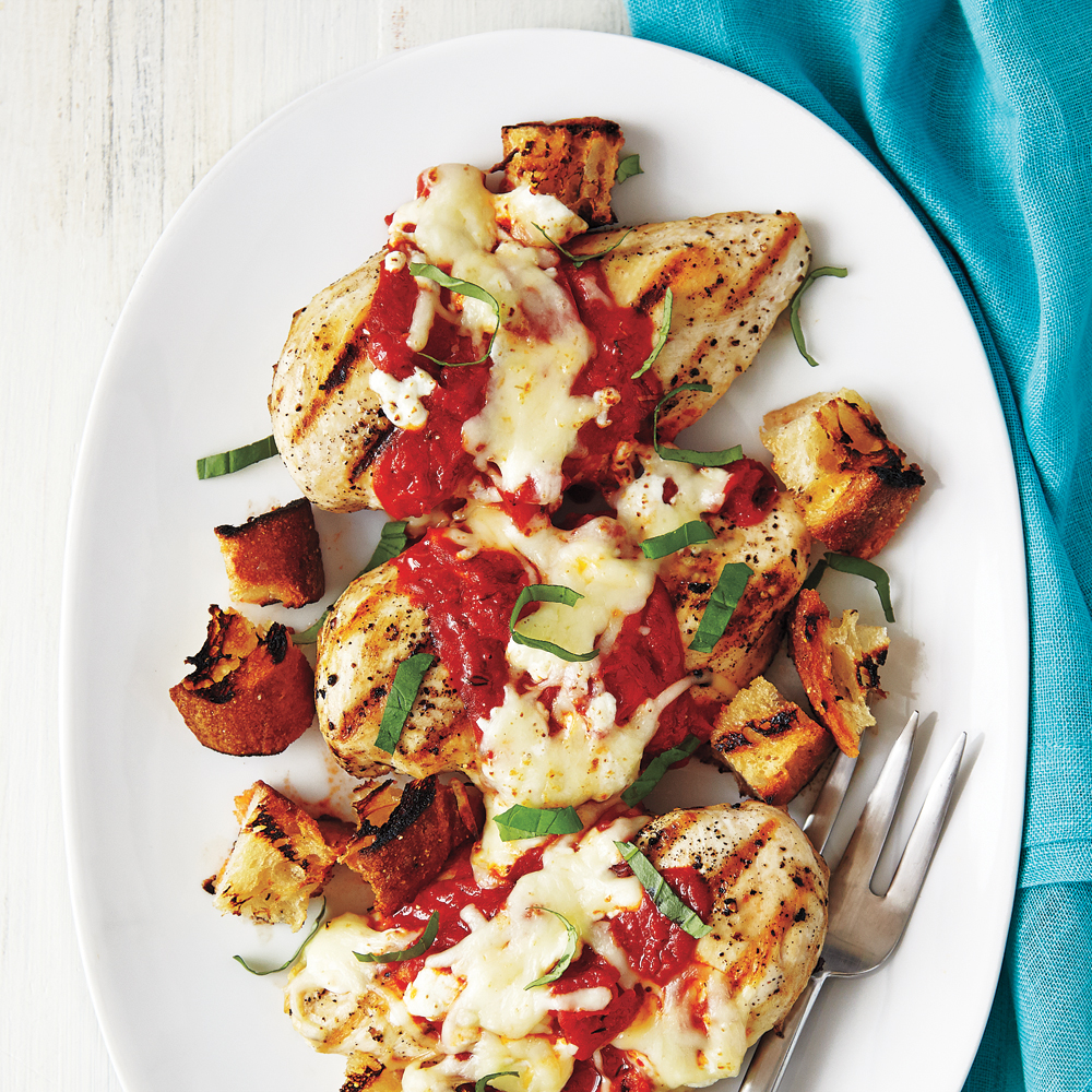 Grilled Chicken Parm with Croutons