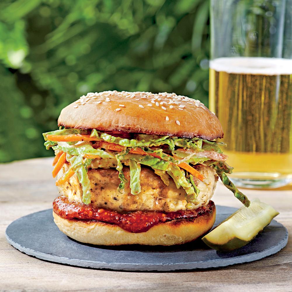 Carolina Chicken Burgers with Ancho Slaw Recipe | MyRecipes