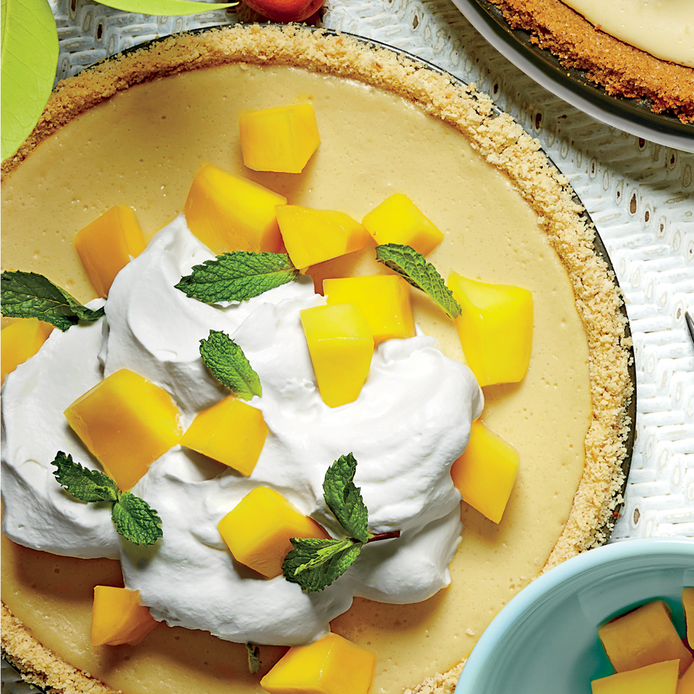 <p>Mango-Lemon-Buttermilk Icebox Pie with Baked Saltine Cracker Crust</p>