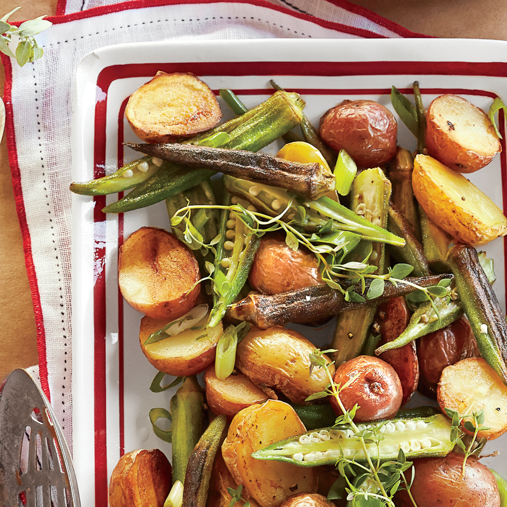 <p>Roasted Potato-and-Okra Salad</p>
