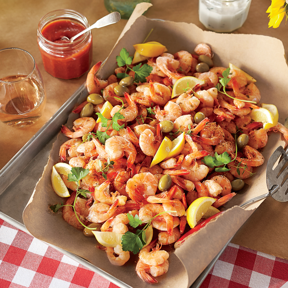<p>Shrimp Boil with Green Olives and Lemon</p>
