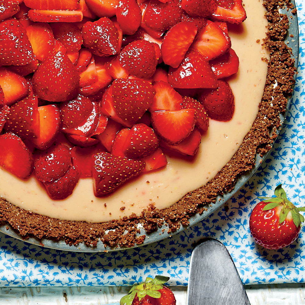 Strawberry-Lemon-Buttermilk Icebox Pie with Baked Gingersnap Crust