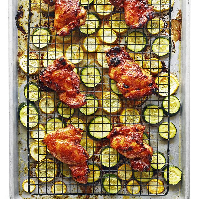 Spicy Chicken Thighs with Summer Squash