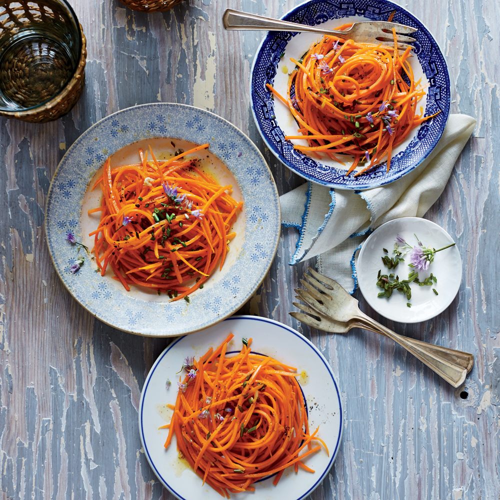 Grated Carrot Salad (Carottes Râpées)                            RecipeOther possible herbs to sprinkle are dill, tarragon, and chervil. To make the salad more of a meal, garnish with thin slices of jambon de pays (thinly sliced, dry-cured ham) or prosciutto, some watercress, and an 8-minute hard-cooked egg.