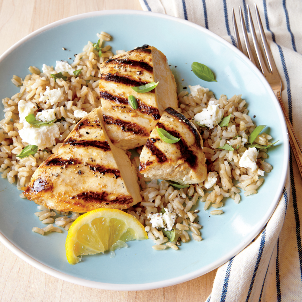 Grilled Lemon Chicken with Feta Rice Recipe | MyRecipes