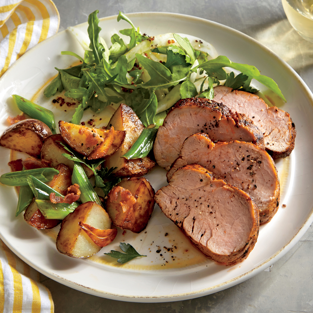 Spiced Pork Tenderloin with Roasted Potatoes and Green Onions