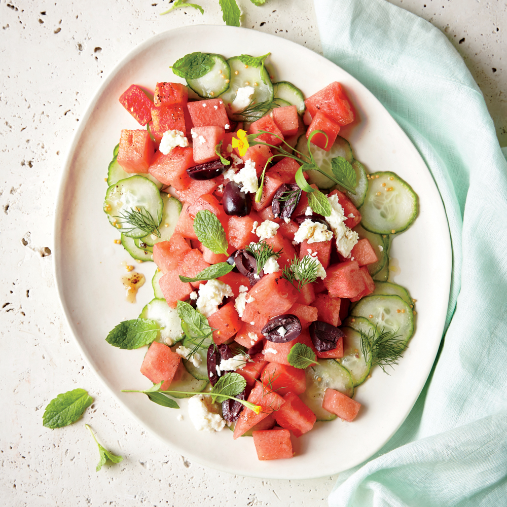 Watermelon Salad with Feta and Cucumber Pickles
