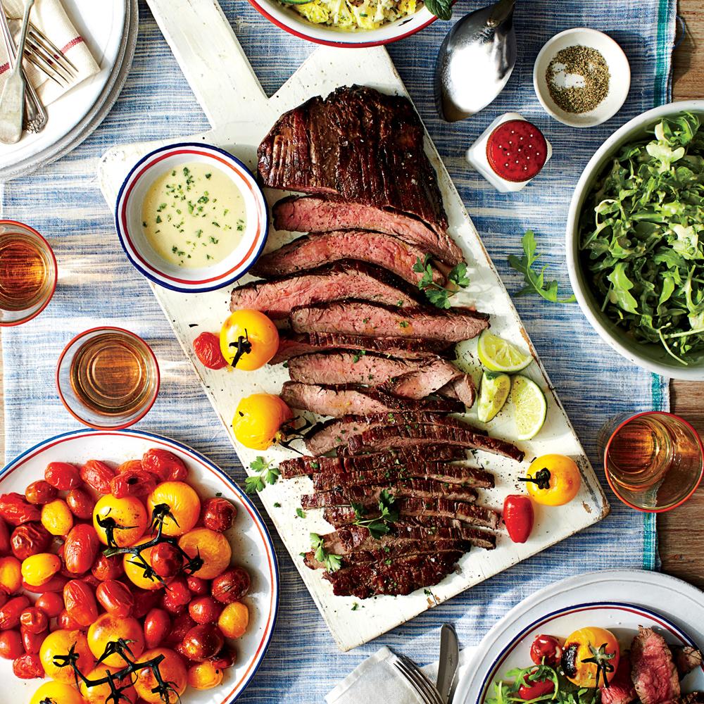 Seared Flank Steak with Lime-Wasabi Sauce