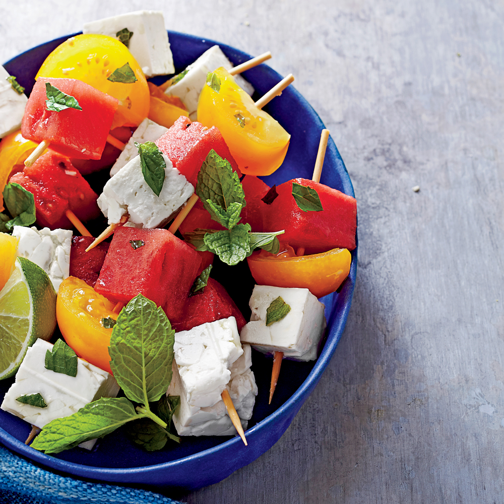 Tomato, Watermelon, and Feta Skewers with Mint and Lime Recipe
