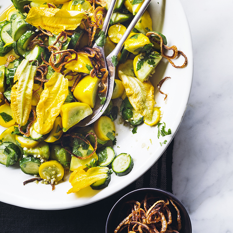 Summer Squash Salad with Crispy Shallots Recipe | MyRecipes