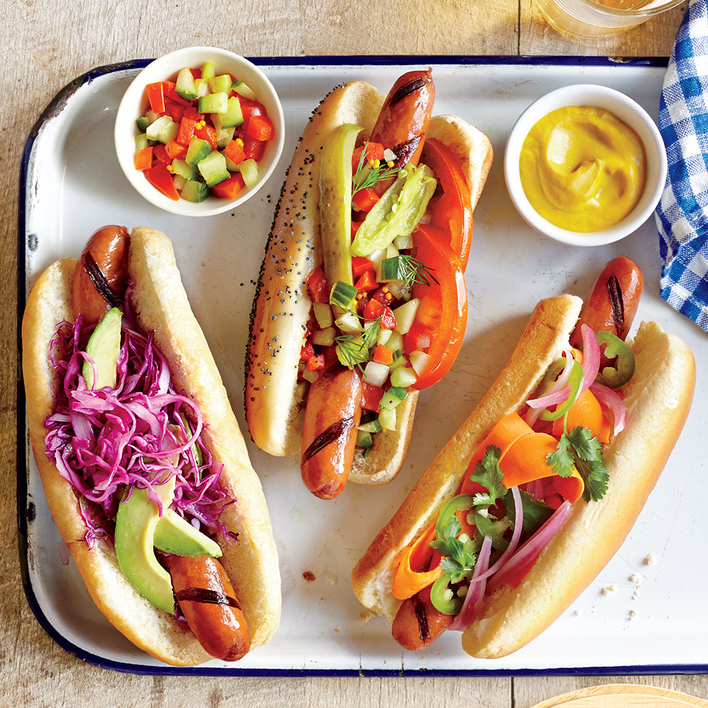 These dogs are on fire! Sister brand Cooking Light created three dandy dogs for every #howisummer occasion: The Chicago Dog, the Banh Mi Dog, and the Mexican Hot Dog.