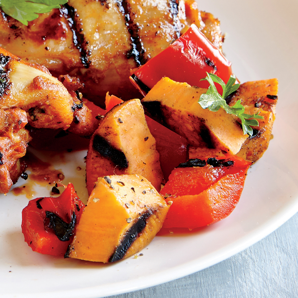 Grilled Sweet Potato and Bell Pepper Toss