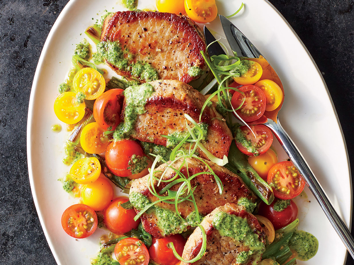 Pork Medallions with Scallions and Magic Green Sauce