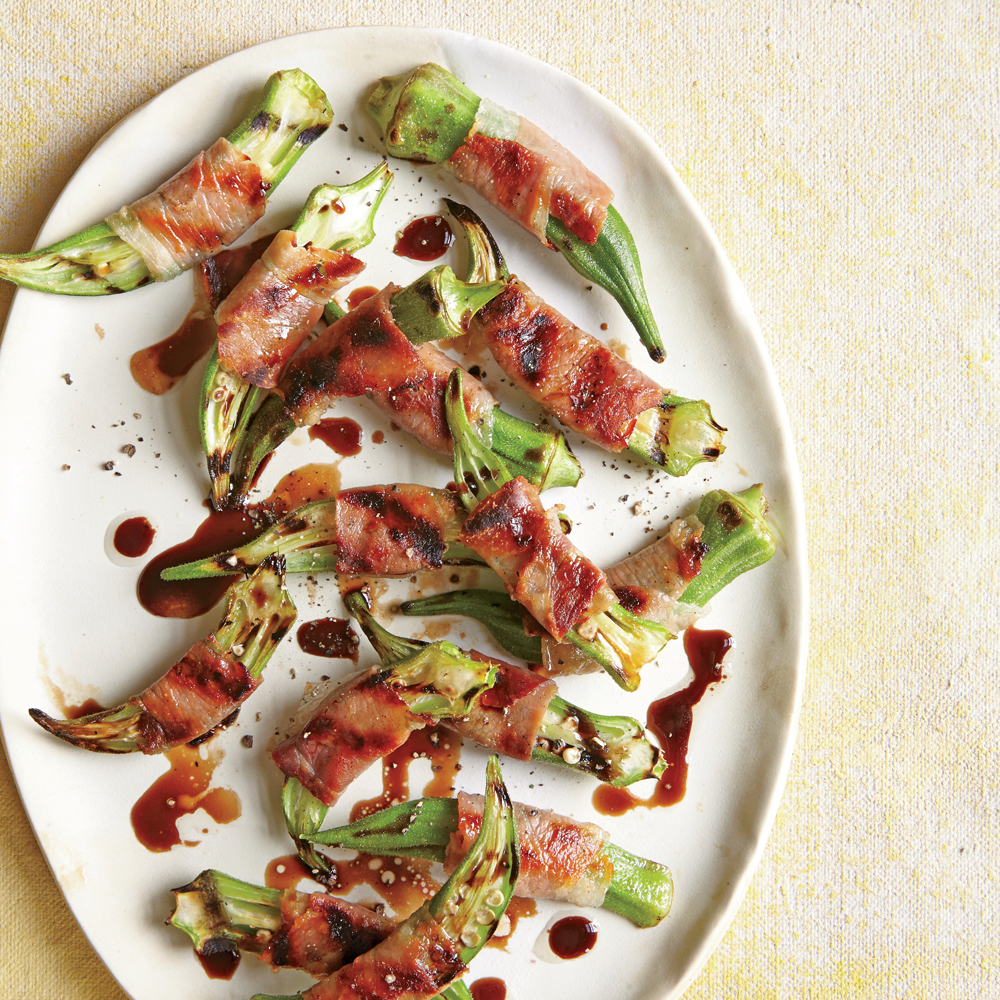 Prosciutto-Wrapped Grilled Okra