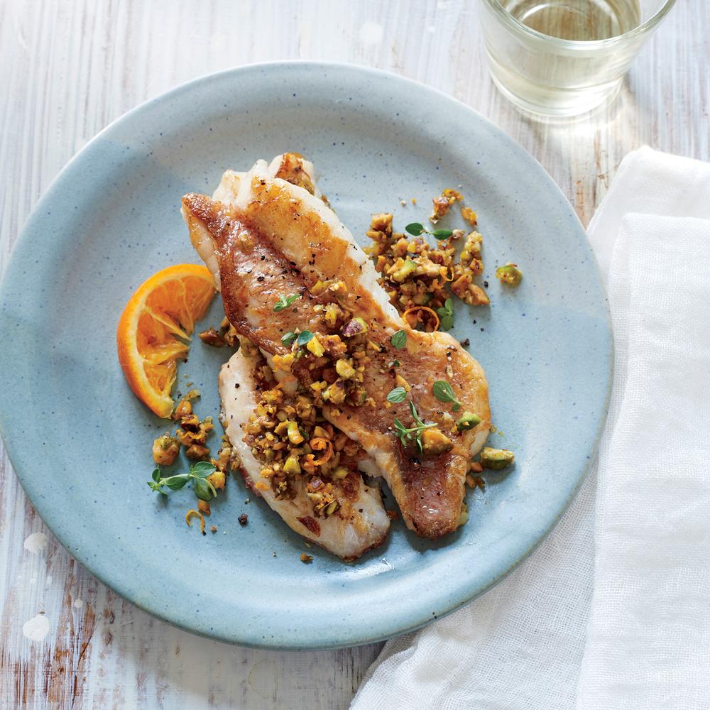 Sautéed Acadian Redfish with Pistachio and Orange Pesto