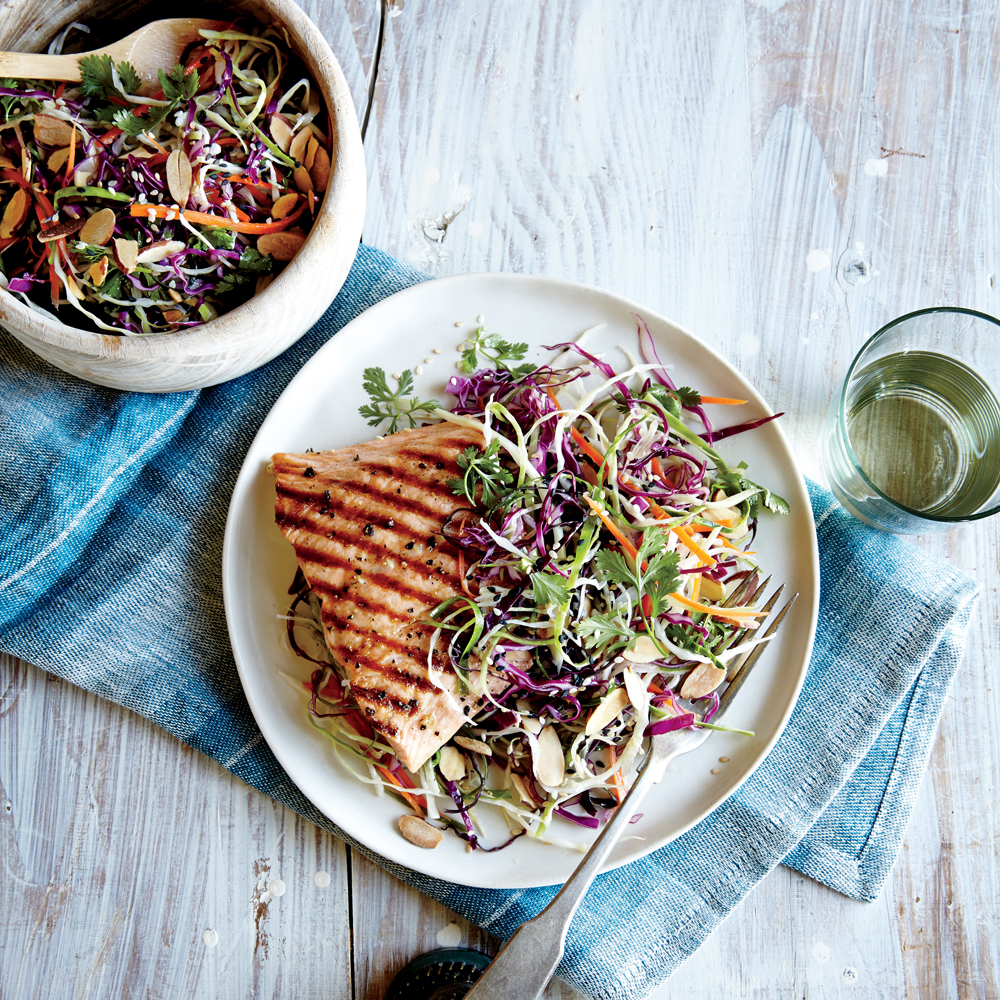 Sesame Cabbage Salad with Grilled Salmon