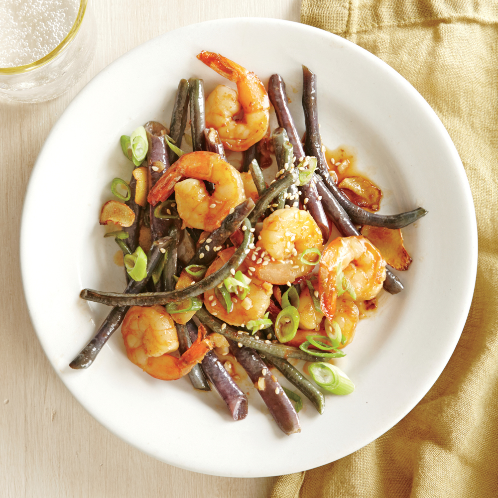 Shrimp with Ginger-Garlic Red Noodle Beans