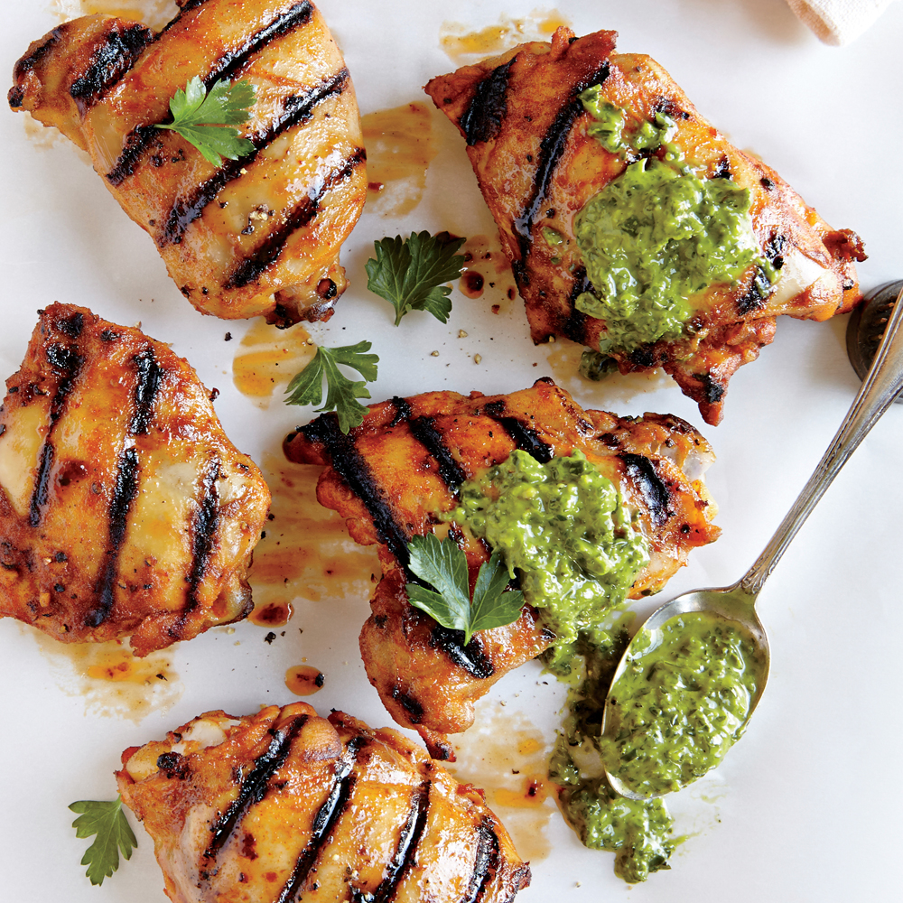 Spiced Grilled Chicken Thighs with Creamy Chile-Herb Sauce