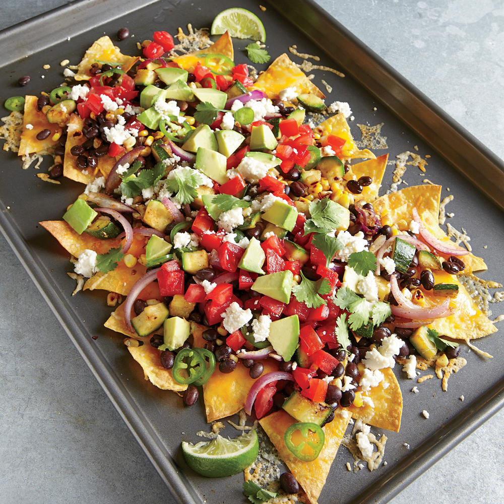 Two-Cheese Veggie Nachos Recipe