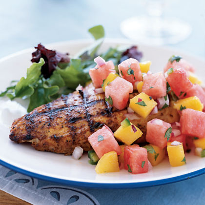 Marinated Grilled Chicken Breasts with Watermelon-Jalapeno Salsa