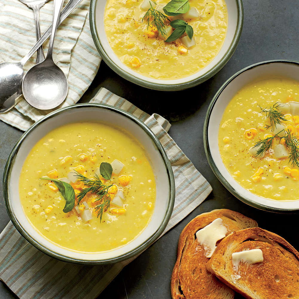 Summer Corn-and-Golden Potato Chowder                            RecipeThis brothy, aromatic chowder is light enough for summer. Simmering the scraped corn cobs directly in the soup concentrates the corn flavor, making the most of the season's sweet bounty.