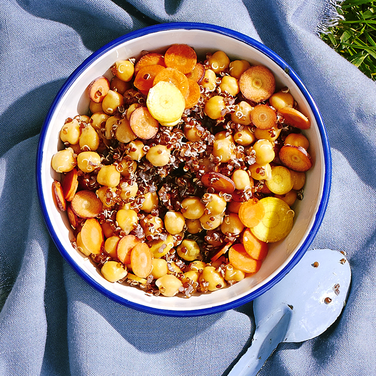 Carrot Salad with Red Quinoa and Chickpeas