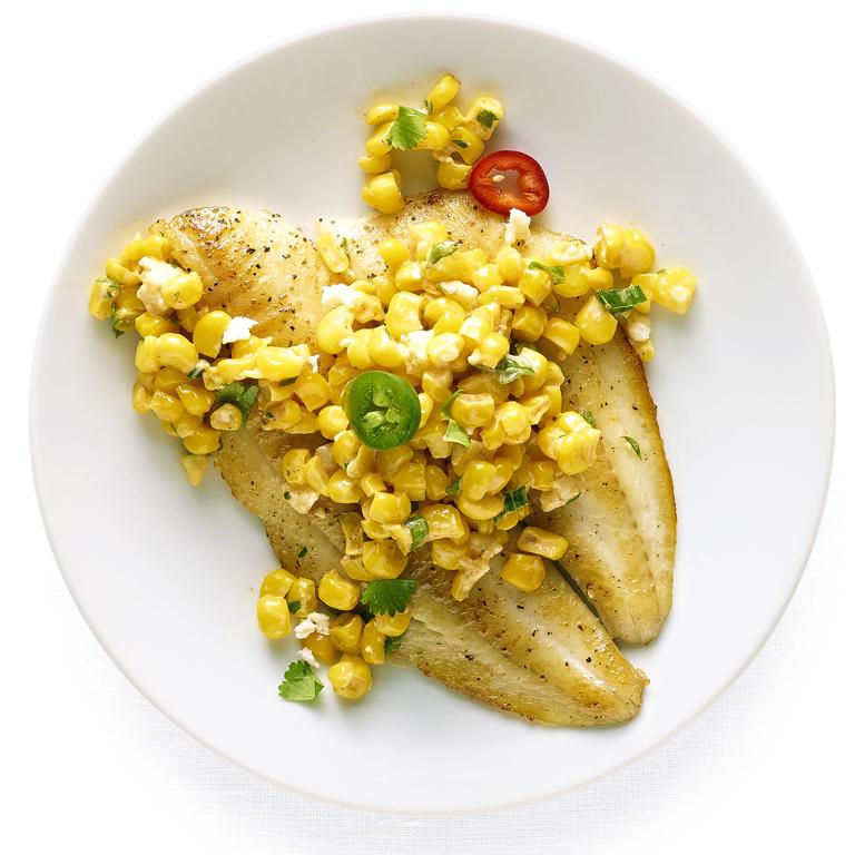 Flounder with Elote Salad