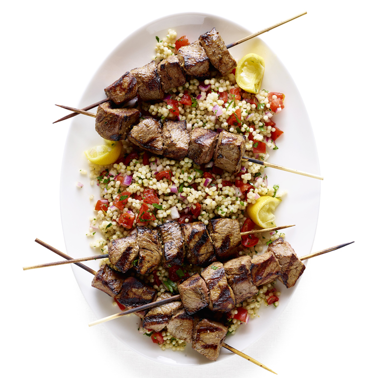 Lemon-Soy Beef Kebabs with Pearl Couscous