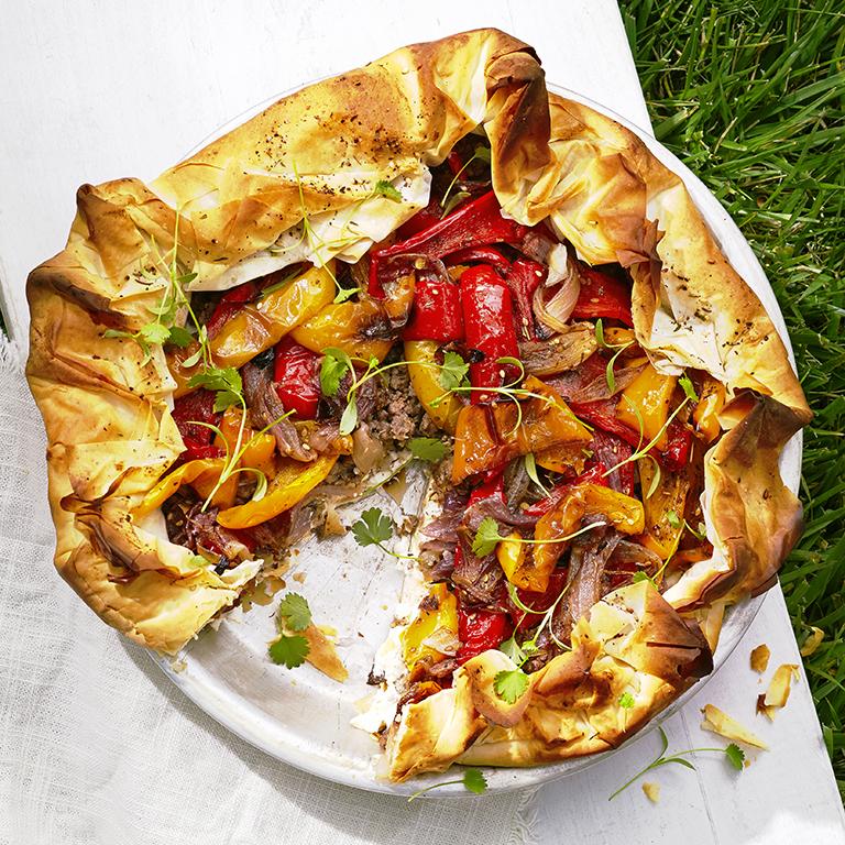 Roasted Pepper, Feta, and Lamb Filo Pie