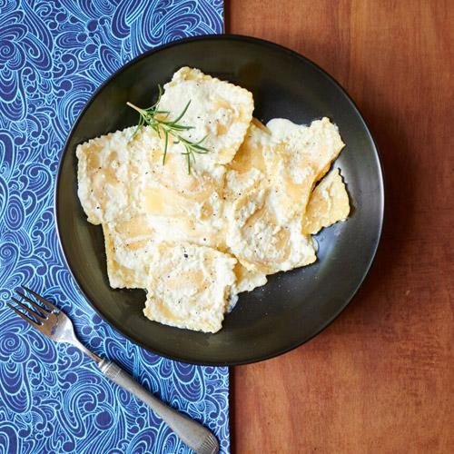Butternut Squash Ravioli and Smoked Cabbage Cream