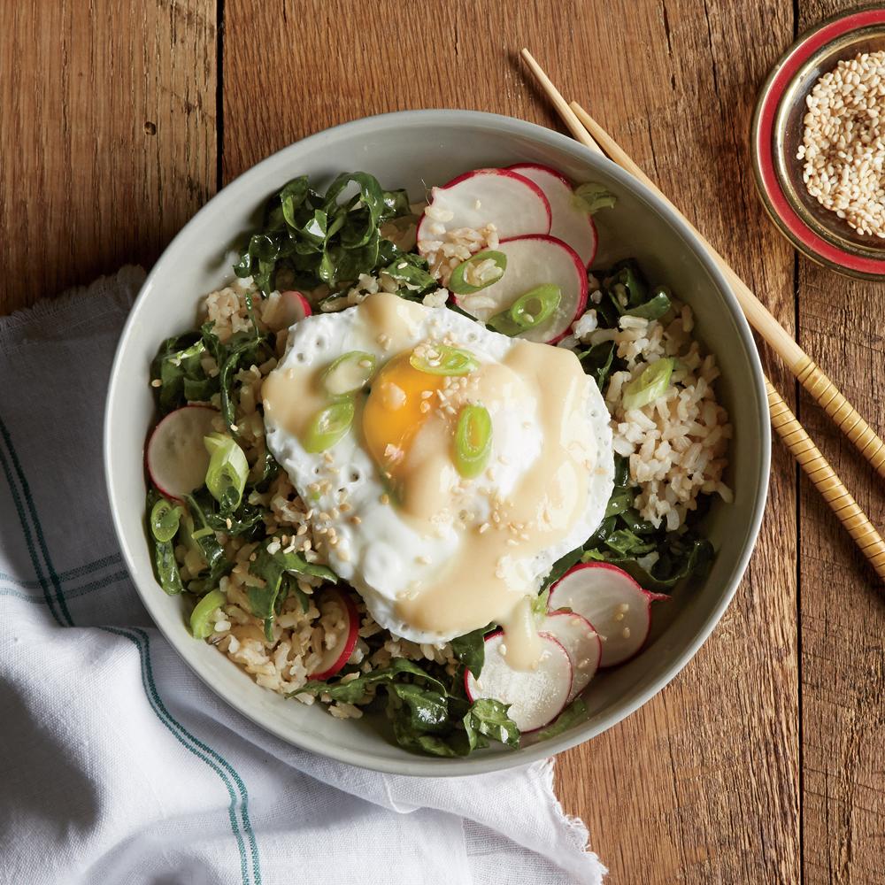 Brown Rice Bowl Amp Miso Poached Egg Amp Kale Radish Slaw