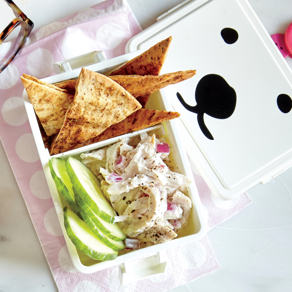 Creamy Chicken Salad with Pita Chips