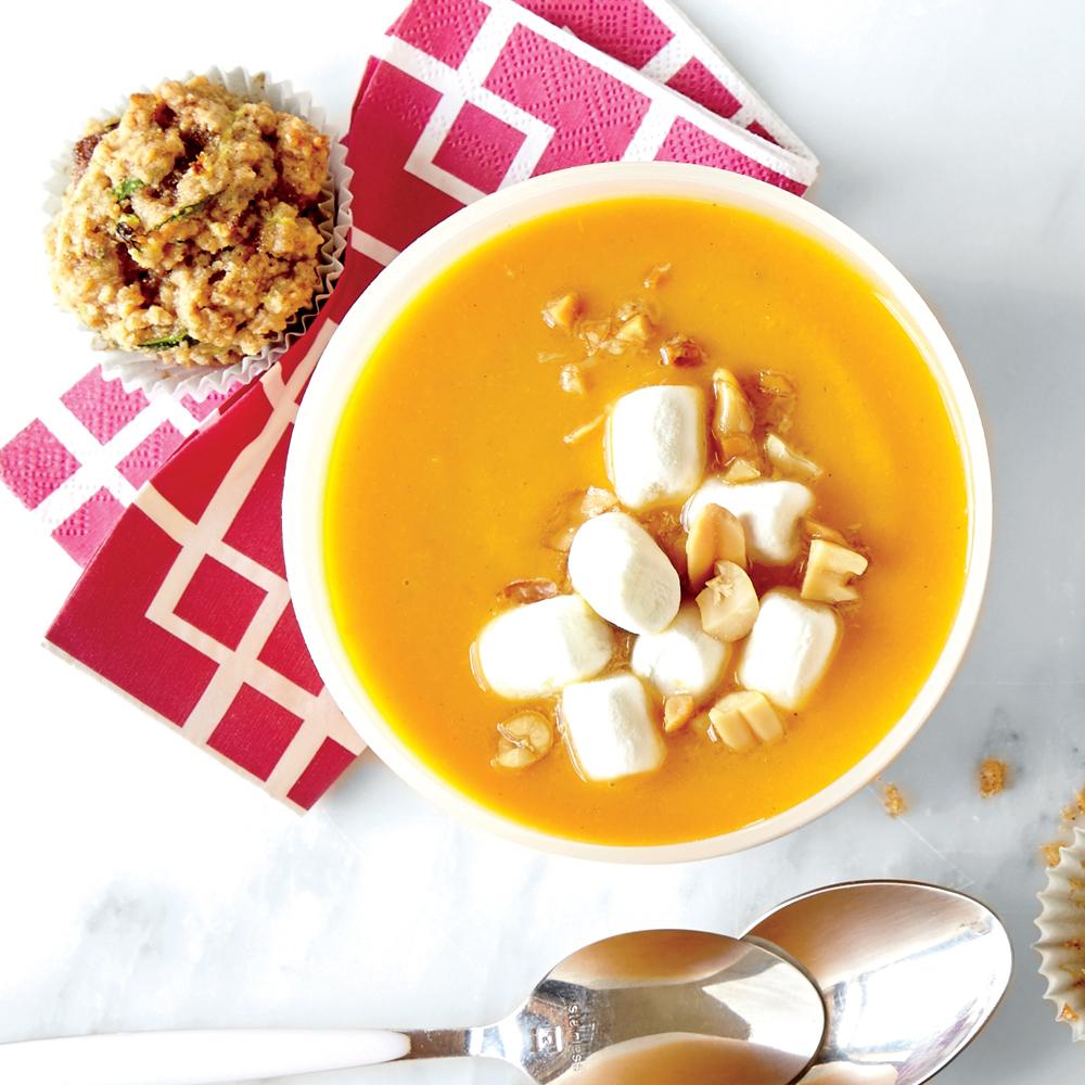 Gingered Sweet Potato Soup Amp Marshmallow Amp Peanut Topper Recipe Myrecipes