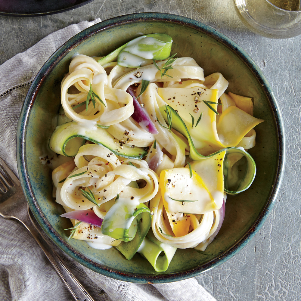 Squash Ribbon Pasta with Herb Cream Sauce