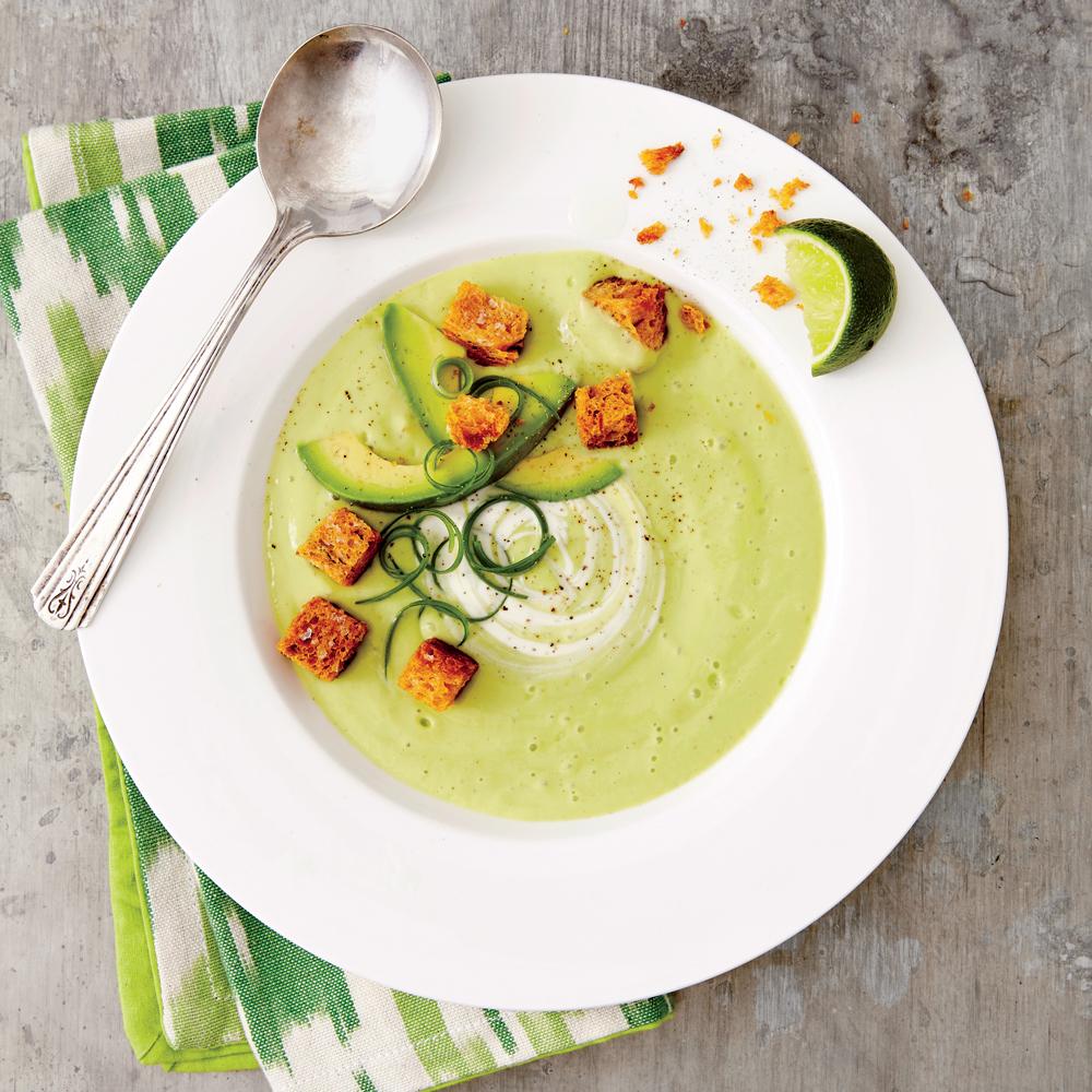 Avocado Gazpacho with Sourdough Croutons