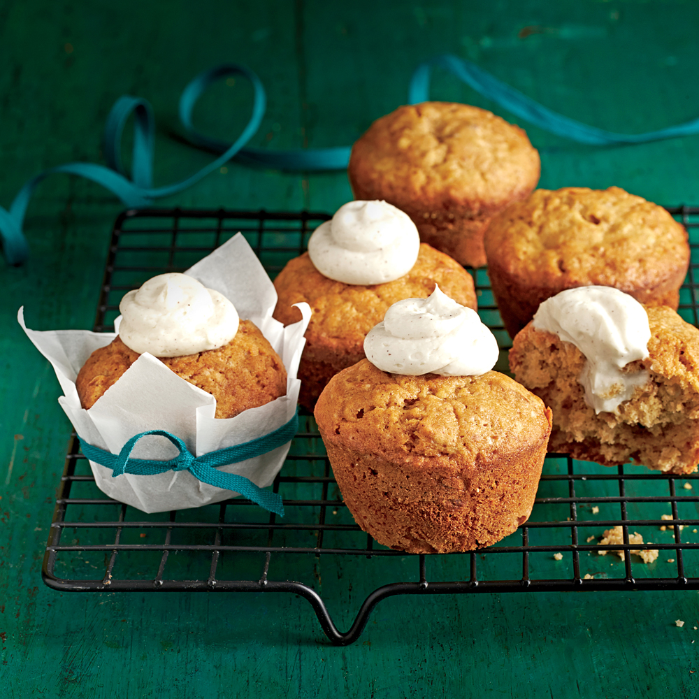 Banana-Nut Muffins                              RecipeUse the extra hour to bake these delicious muffins as 2 loaves. Spread the Cream Cheese-Honey Filling on the warm bread.